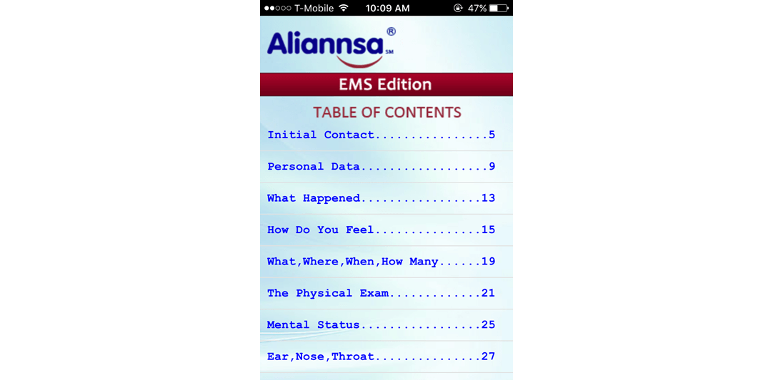 Aliannsa's Medical Spanish Translation Program Mobile App developed by SunNet Solutions.