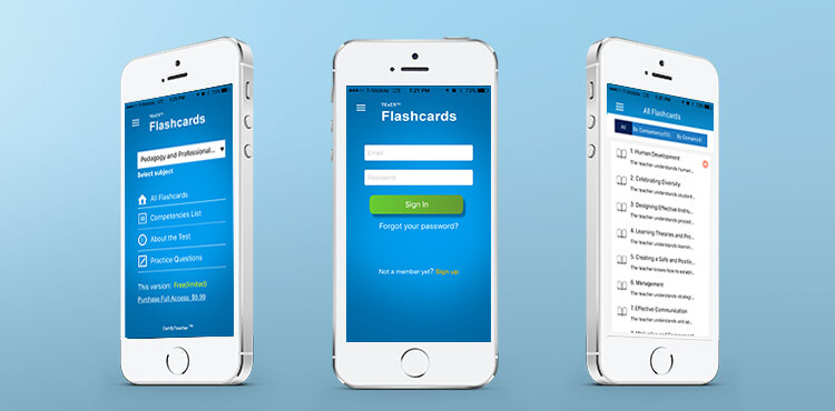 Flashcards mobile app developed by SunNet Solutions.